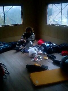 作業所で野宿 Slept at factory