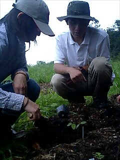 十勝千年の森で植樹 Tree planting at Tokachi millenium forest