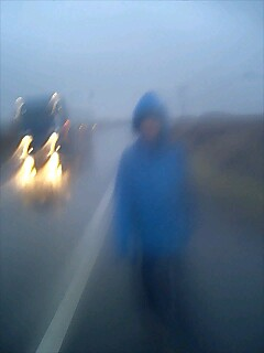 雨の中を歩いてます。 Walking in the rain.